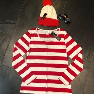 Women's Sz L Where's Waldo Halloween Costume NWT